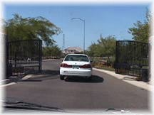 Entrance to Tom's gated community
